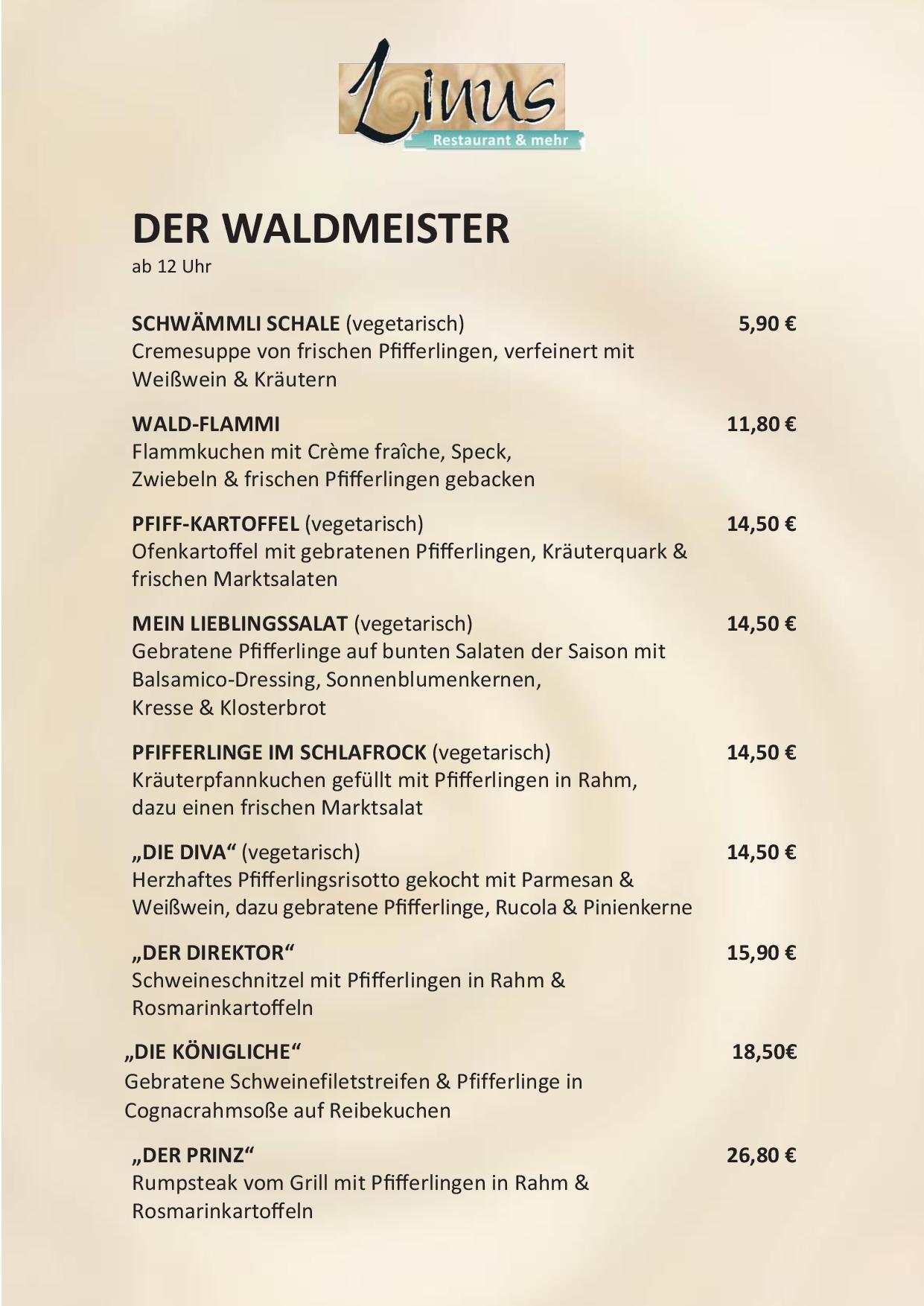 Saisonkarte des Linus Restaurants in Dortmund